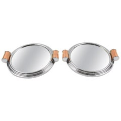 French Art Deco Machine Age Aluminum Mirror Copper Cocktail Serving Tray, a Pair