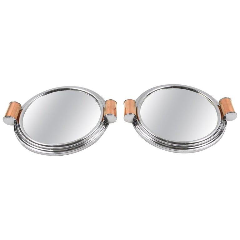 French Art Deco Machine Age Aluminum Mirror Copper Cocktail Serving Tray, a Pair For Sale