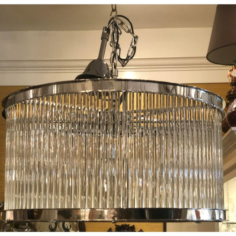 French Art Deco Machine Age glass rod light fixture chandelier. Thick glass rods and nickel-plated finish with opaque glass bottom. The barrel form glass rod section measures 16