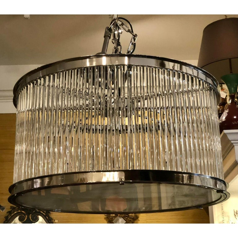 North American French Art Deco Machine Age Glass Rod Light Fixture Chandelier For Sale