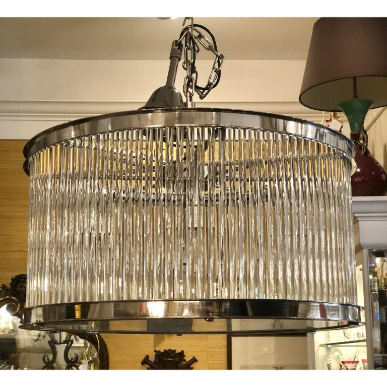 French Art Deco Machine Age Glass Rod Light Fixture Chandelier In Good Condition For Sale In LOS ANGELES, CA