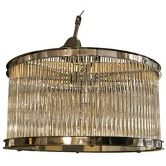 French Art Deco Machine Age Glass Rod Light Fixture Chandelier