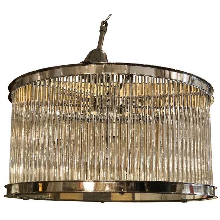 French Art Deco Machine Age Glass Rod Light Fixture Chandelier For Sale