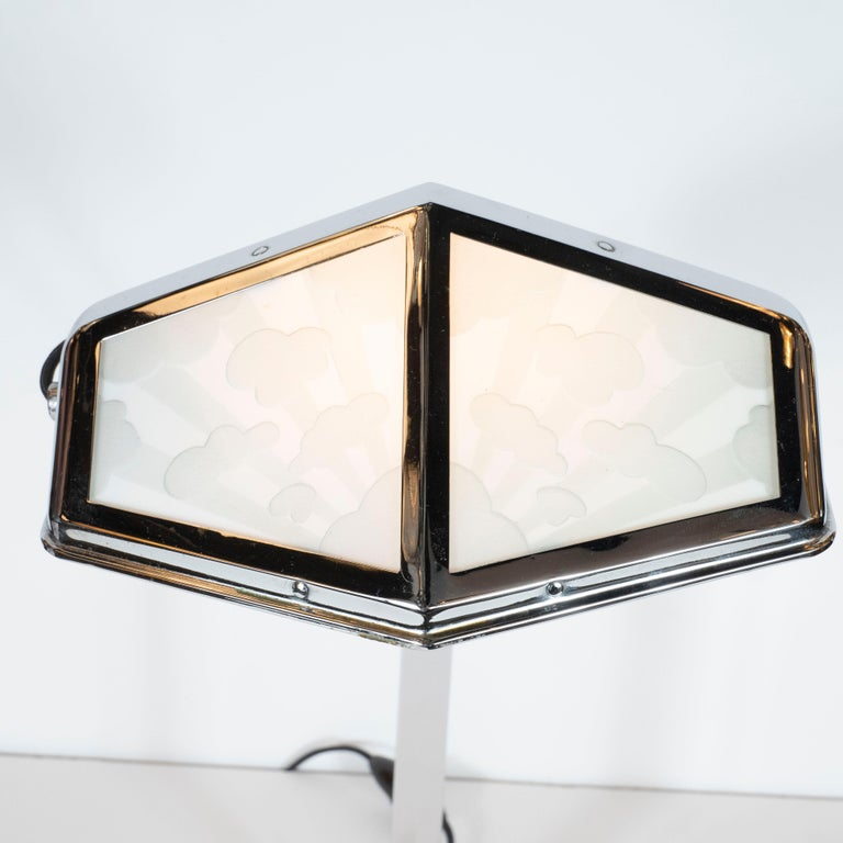 French Art Deco Machine Age Nickel and Frosted Glass Cloud Motif Table Lamp In Excellent Condition For Sale In New York, NY