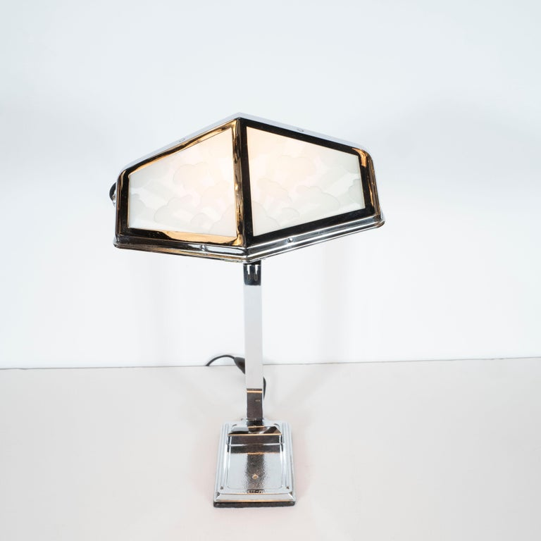 Mid-20th Century French Art Deco Machine Age Nickel and Frosted Glass Cloud Motif Table Lamp For Sale
