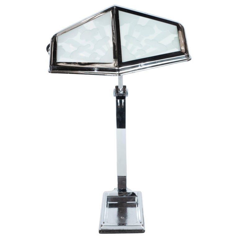 French Art Deco Machine Age Nickel and Frosted Glass Cloud Motif Table Lamp For Sale