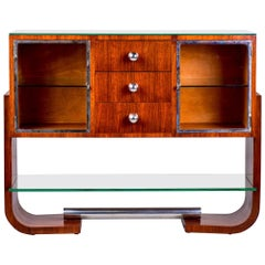 French Art Deco Mahogany and Polished Nickel Cabinet with Glass Doors