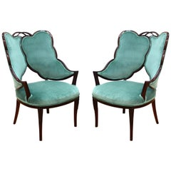 French Art Deco Mahogany Chairs in Jade Green Velvet with Leaf Design