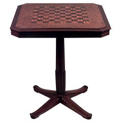 French Art Deco Mahogany Game Table with Chessboard Attributed to Selmercheim