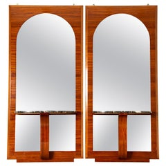 French Art Deco Mahogany Mirrors with Consoles