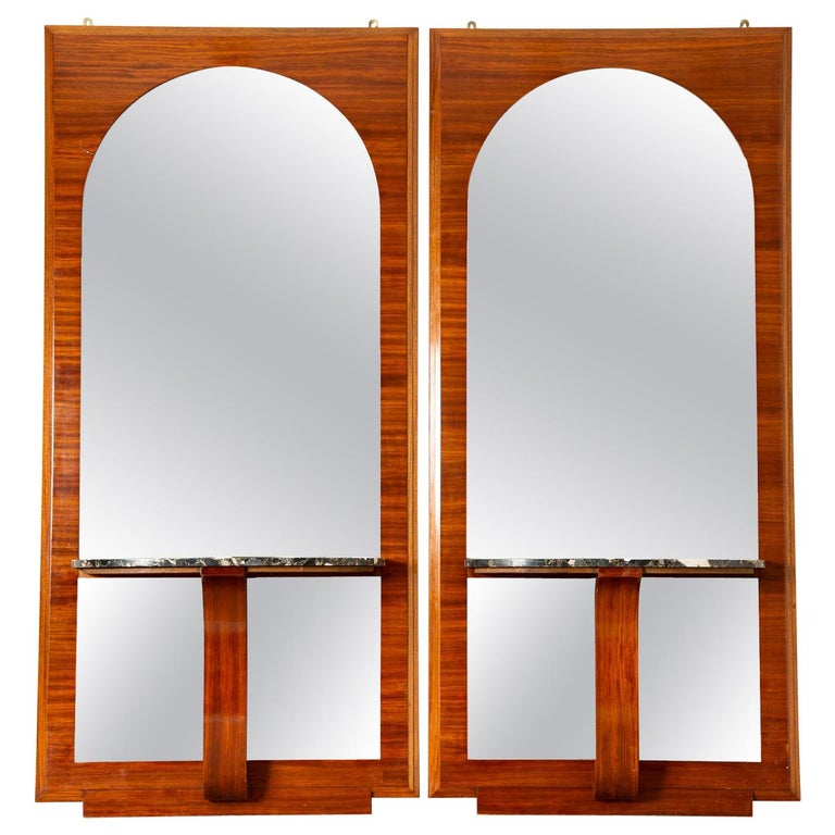 French Art Deco Mahogany Mirrors with Consoles For Sale
