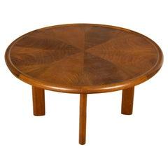 French Art Deco Mahogany Round Coffee Table by Majorelle, Circa 1930.