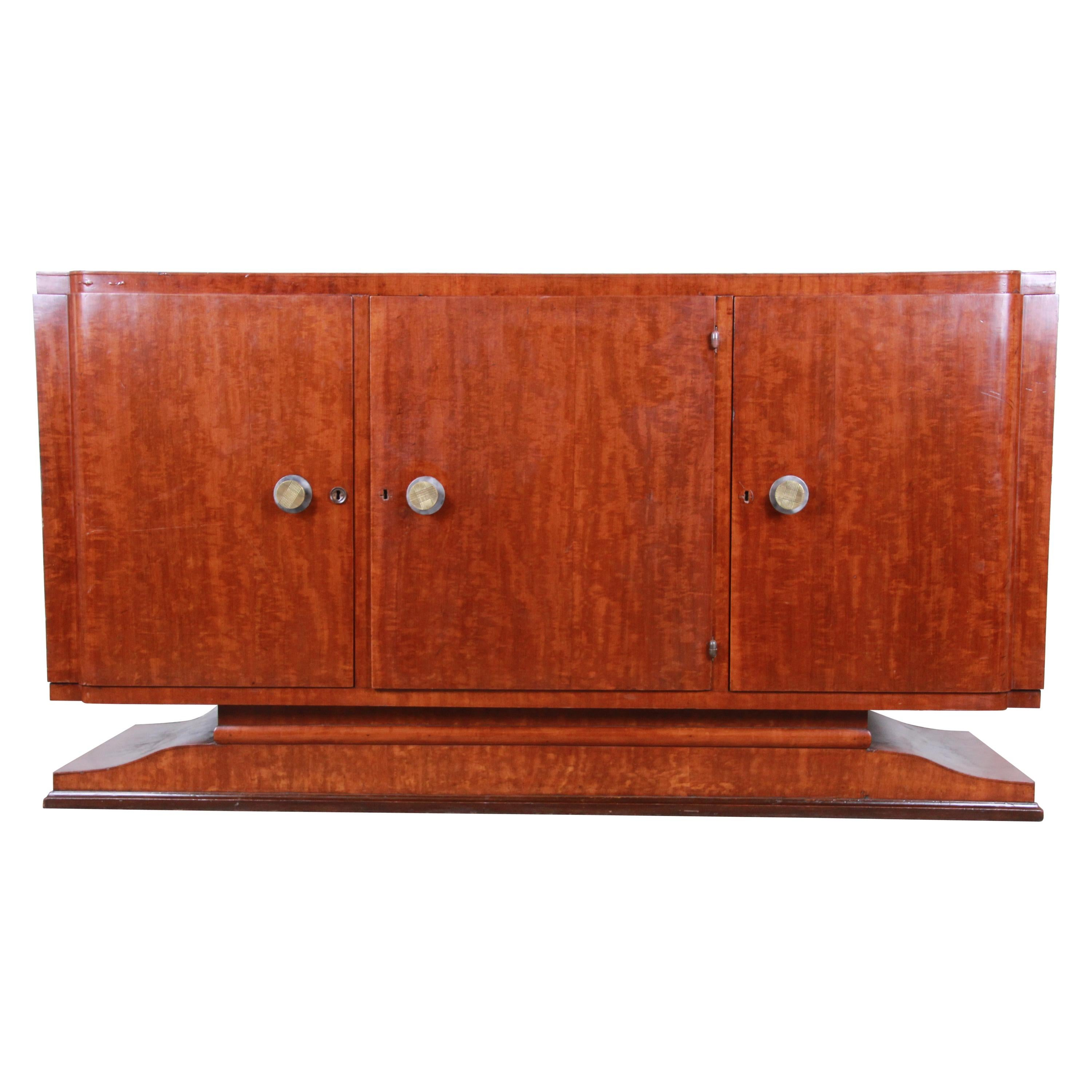 French Art Deco Mahogany Sideboard or Bar Cabinet, 1940s