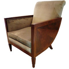 French Art Deco Mahogany, Walnut and Rosewood Bergère, Dominique