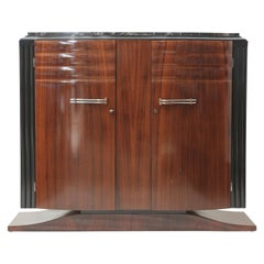 French Art Deco Mahogany with Black & Gold Marble Top Small Cabinet, circa 1940