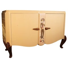 French Art Deco Maison Jansen Attributed Ivory Lacquered Buffet