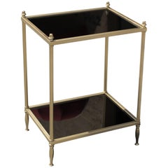 French Art Deco Maison Jansen Two-Tier Bronze Accent or Side Table, circa 1940s