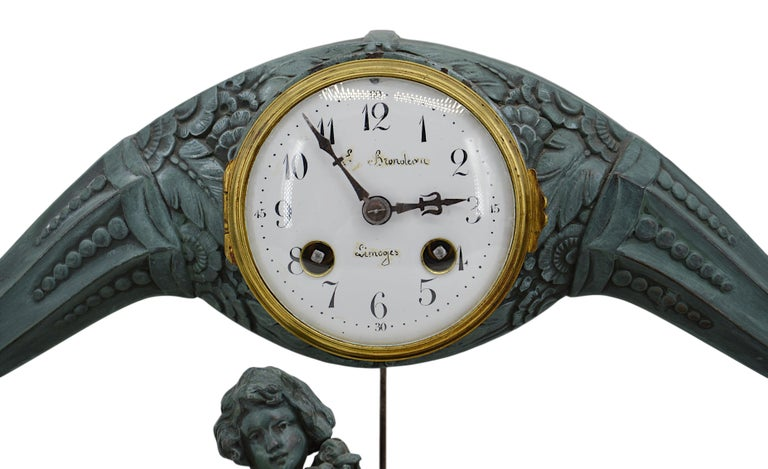 French Art Deco Mantel Clock Set by Limousin, 1920s In Good Condition For Sale In Saint-Amans-des-Cots, FR