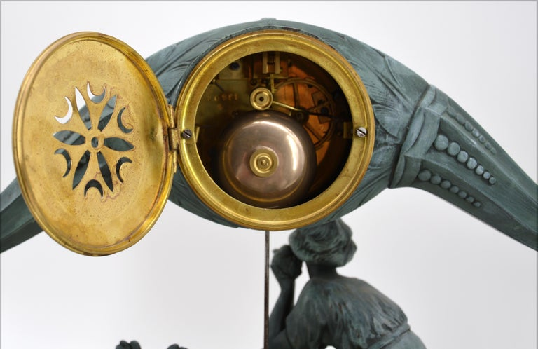 Early 20th Century French Art Deco Mantel Clock Set by Limousin, 1920s For Sale