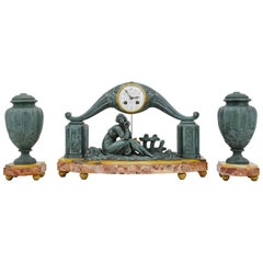 French Art Deco Mantel Clock Set by Limousin, 1920s