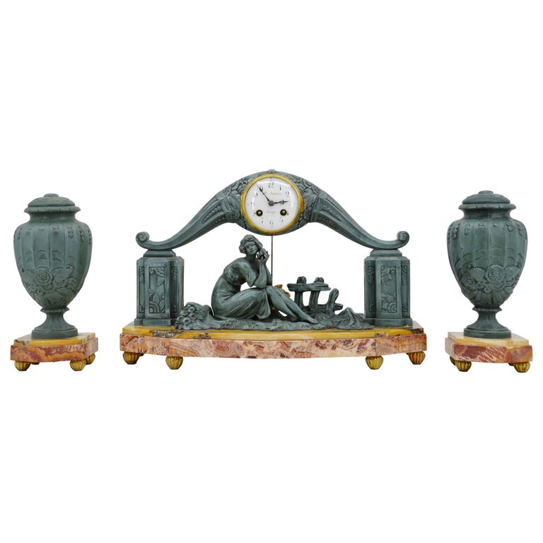 French Art Deco Mantel Clock Set by Limousin, 1920s For Sale