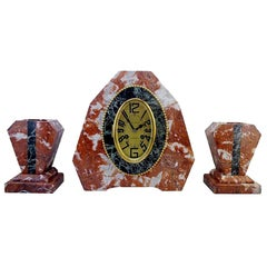 French Art Deco Mantel Clock Set, circa 1925