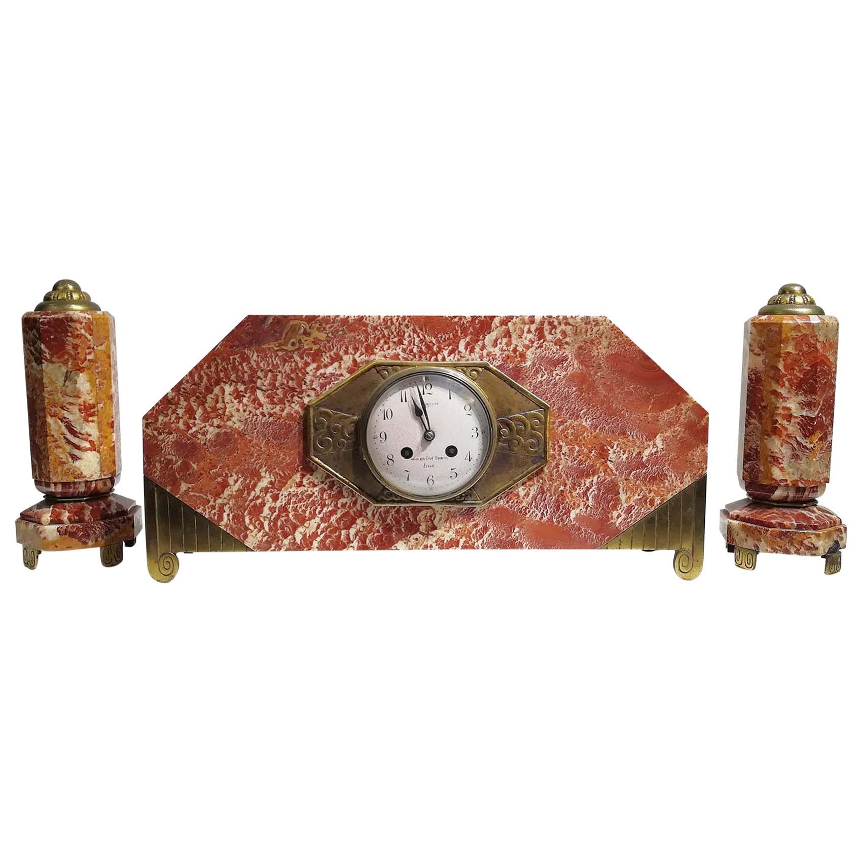 French Art Deco Mantel Clock Set Signed Bennet & Pottier Made in Paris, France