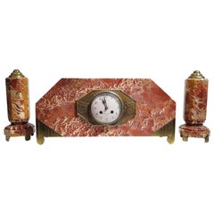 French Art Deco Mantel Clock Set Signed Bennet & Pottier Made in Paris, France