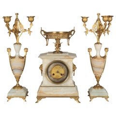 French Art Deco Mantel Clock and Candelabras