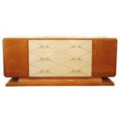 French Art Deco Maple and Lacquer Sideboard with Lucite Pulls