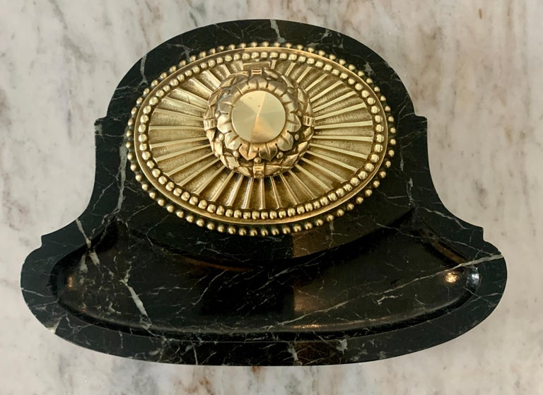 French Art Deco Marble and Bronze Ink Well For Sale 1