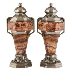French Art Deco Marble and Bronze Urns, 1925, France