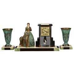 French Art Deco Marble and Chrome Garniture