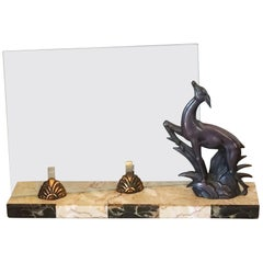 French Art Deco Marble and Gazelle Photo Frame