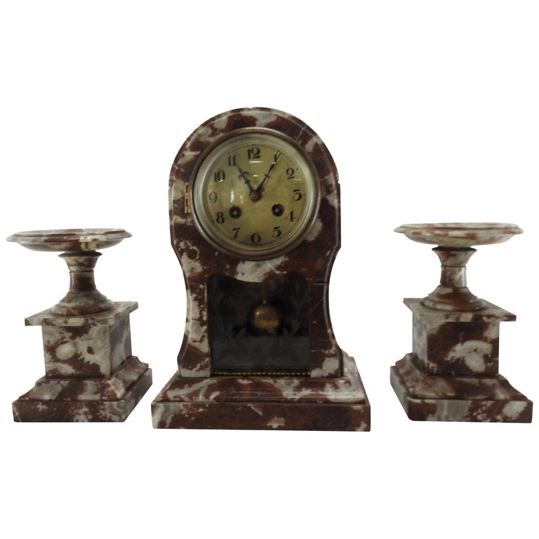 French Art Deco Marble Mantel Clock and Pedestals For Sale