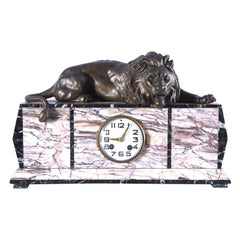 French Art Deco Marble Mantel Clock