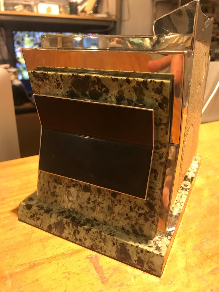 Modern French Art Deco Marble, Nickel and Shagreen Puzzle Box For Sale