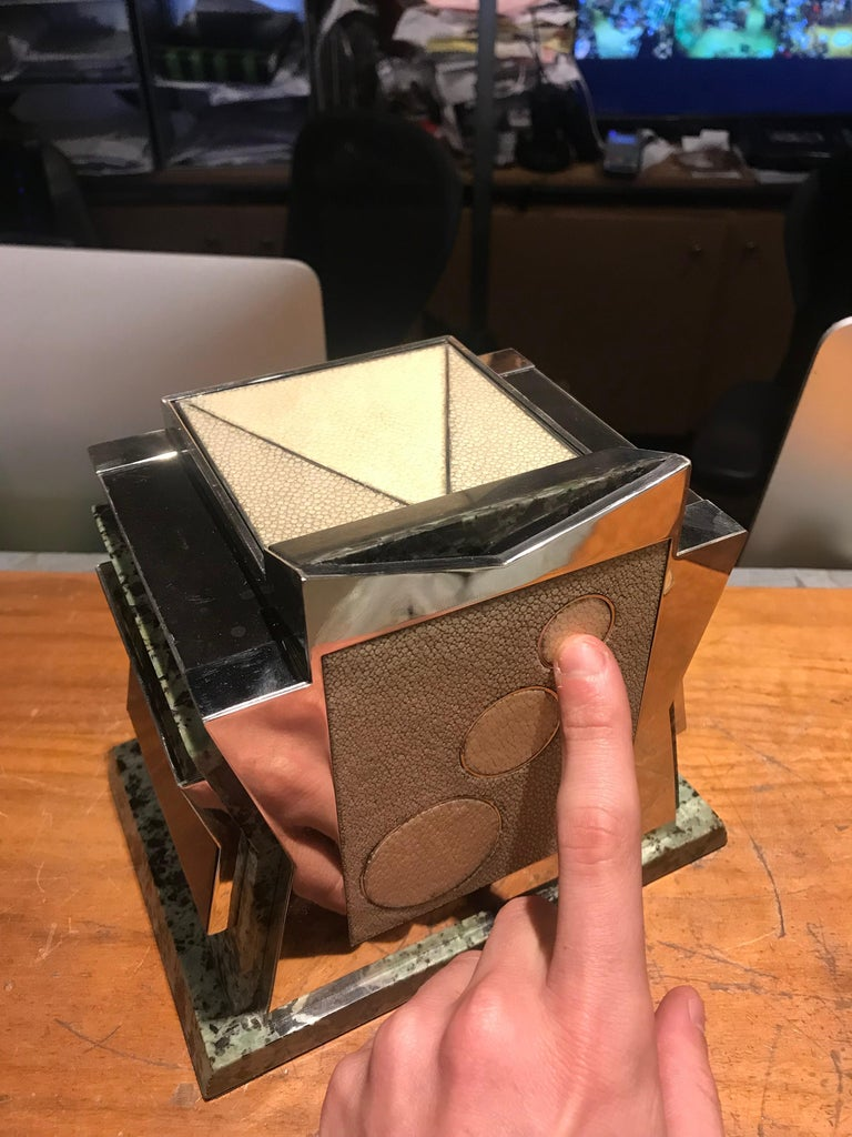 French Art Deco Marble, Nickel and Shagreen Puzzle Box For Sale 1