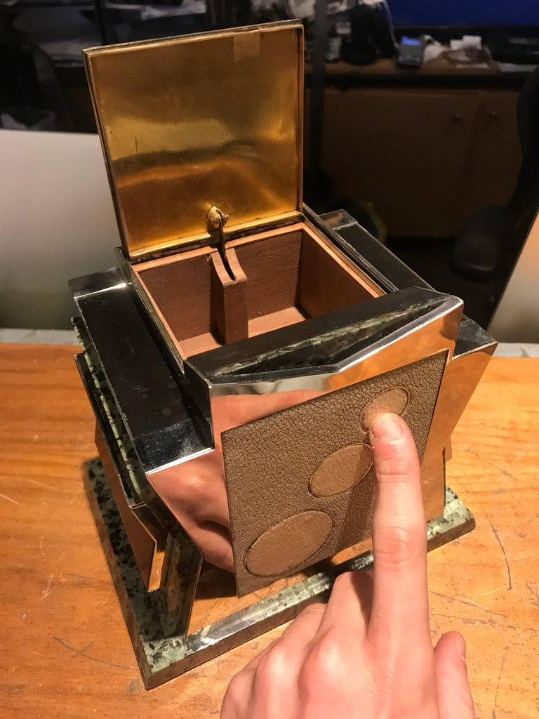 French Art Deco Marble, Nickel and Shagreen Puzzle Box For Sale 2