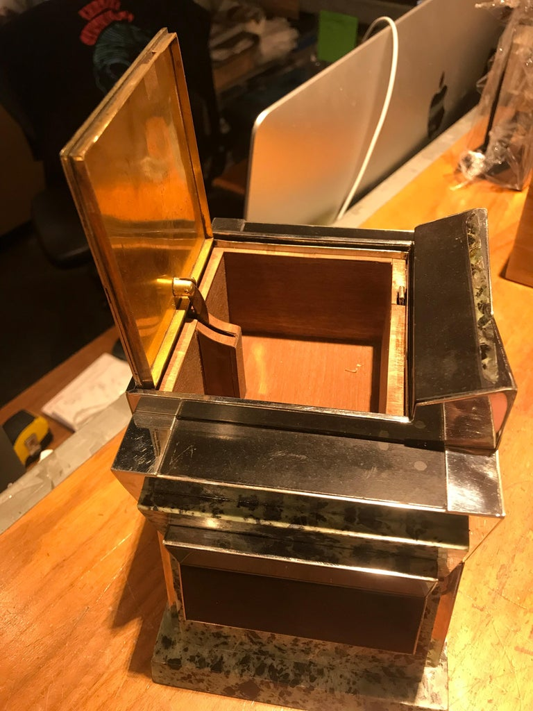 French Art Deco Marble, Nickel and Shagreen Puzzle Box For Sale 3