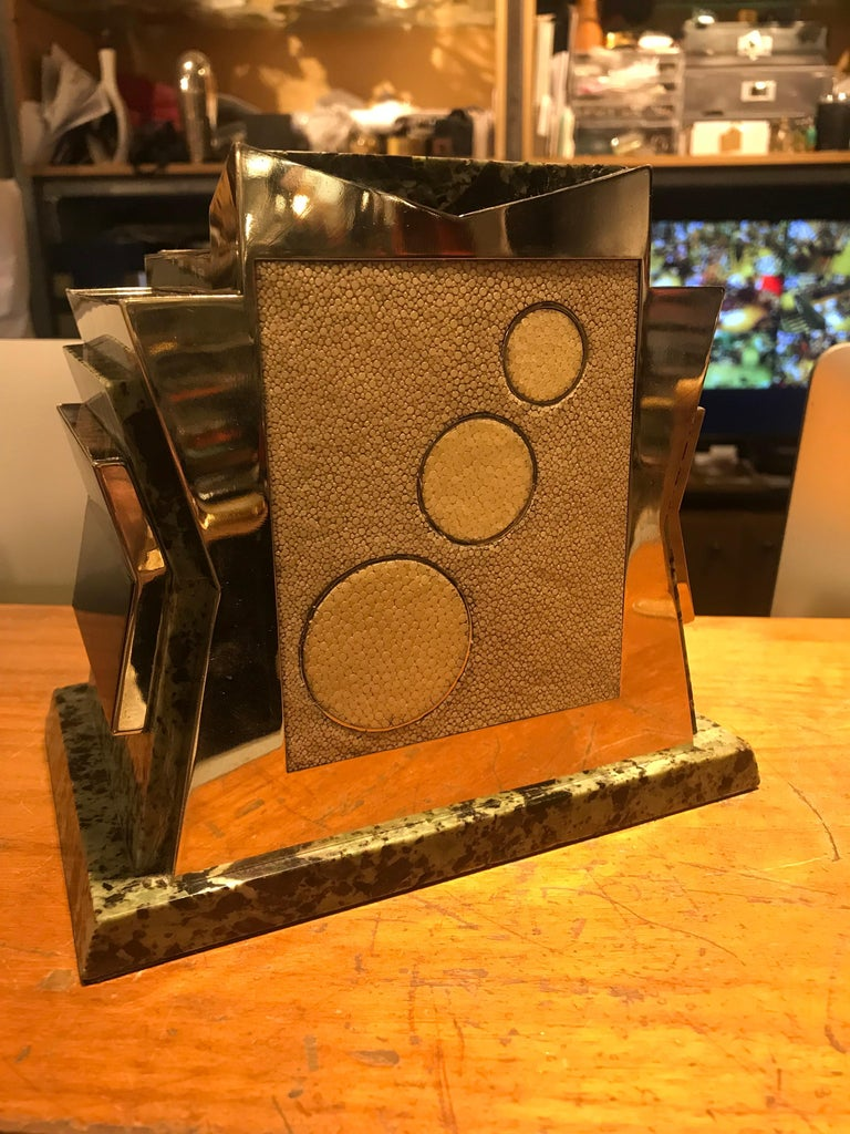 French Art Deco Marble, Nickel and Shagreen Puzzle Box For Sale 4