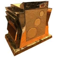 French Art Deco Marble, Nickel and Shagreen Puzzle Box