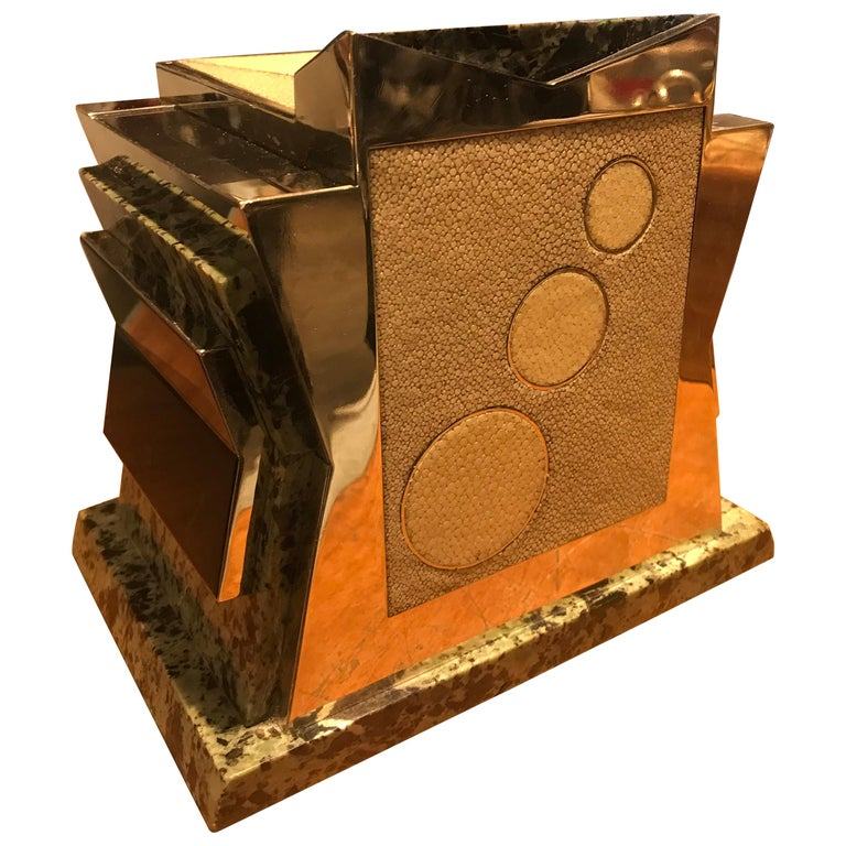 French Art Deco Marble, Nickel and Shagreen Puzzle Box For Sale