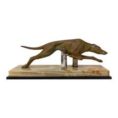 French Art Deco Marble Spelter Greyhound, circa 1930