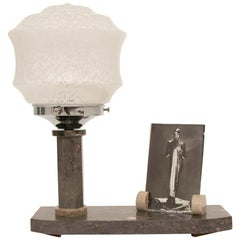 French Art Deco Marble Table Lamp with Photo Frame