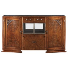 French Art Deco Marble-Top Walnut Buffet/Credenza, 1930s