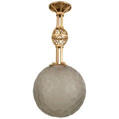 French Art Deco Michon Iron and Glass Pendant Lantern