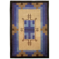 French Art Deco Midcentury Blue and Beige Handwoven Wool Rug