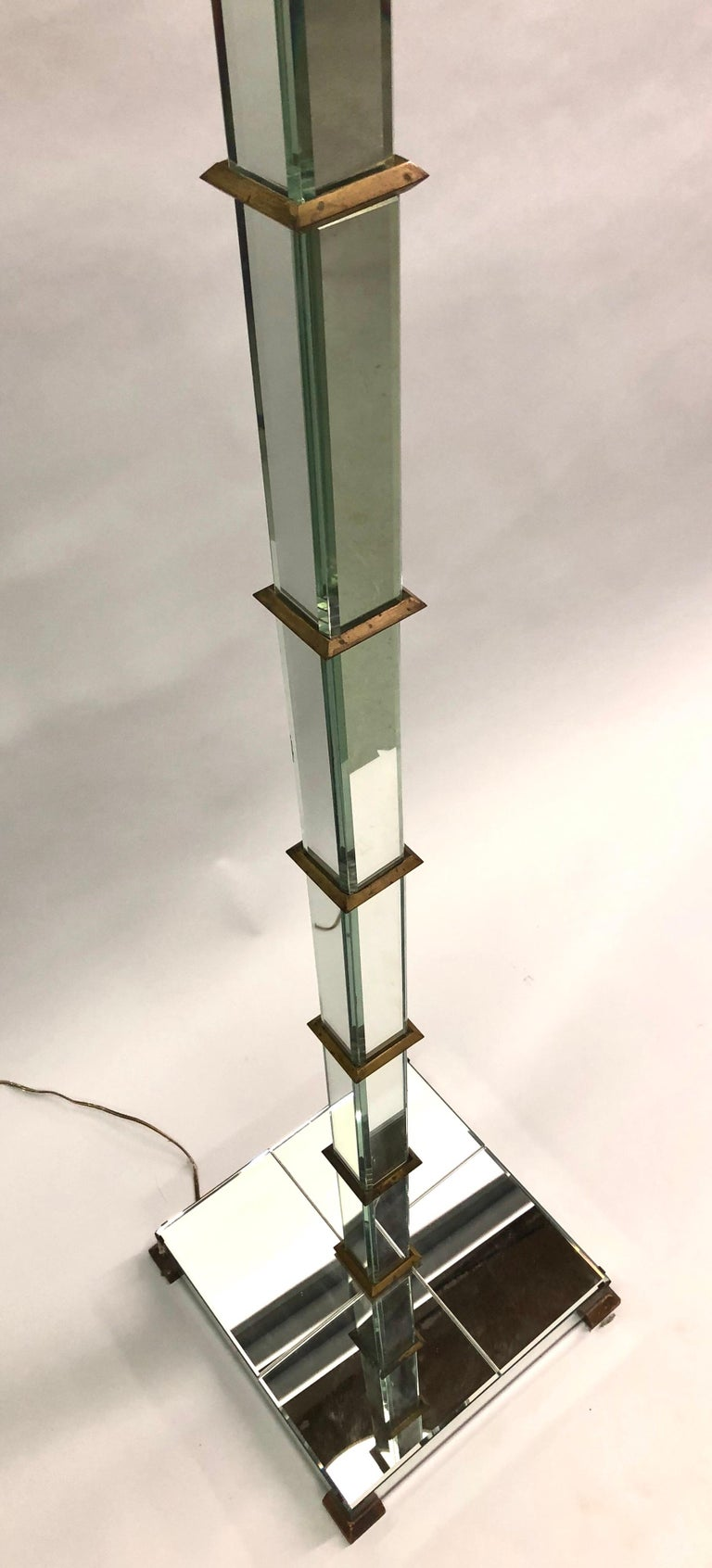 20th Century French Art Deco / Midcentury Mirrored Floor Lamp Serge Roche & Jansen Attributed For Sale