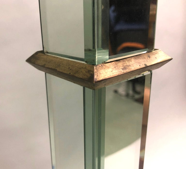 French Art Deco / Midcentury Mirrored Floor Lamp Serge Roche & Jansen Attributed For Sale 1
